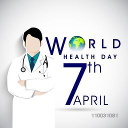 Abstract world health day concept with doctor and stylish text on grey background.