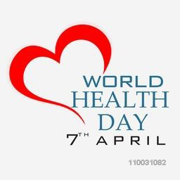 Abstract world health day concept with stylish red heart on grey background.