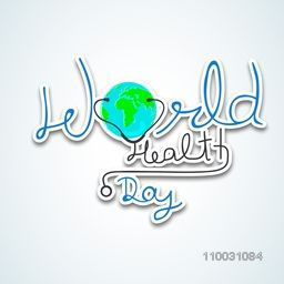Abstract world health day concept with stylish text and globe on grey background.