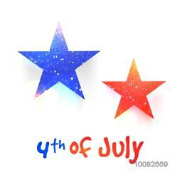 Creative glittering stars with stylish text 4th of July, Greeting Card design for American Independence Day celebration.