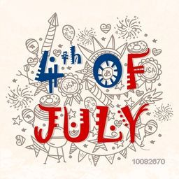 American Flag colors text 4th of July with different doodle elements, Creative Greeting Card design for Independence Day celebration.