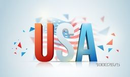 Glossy 3D Text U.S.A in American Flag colors on waving flag background for 4th of July, Independence Day celebration.