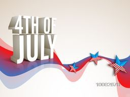 Glossy 3D text 4th of July on abstract waves and stars decorated background for American Independence Day celebration.
