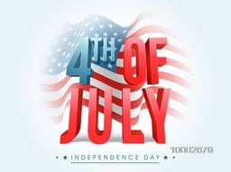Glossy 3D Text 4th of July in blue and red colors on waving American Flag background, Creative Poster, Banner or Flyer for Independence Day celebration.