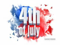 Glossy 3D Text 4th of July on abstract blue and red background, Greeting Card design for American Independence Day celebration.