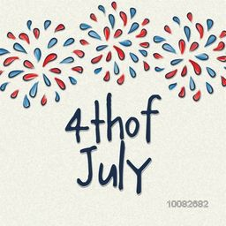 Greeting card design decorated with stylish text 4th of July and American Flag color fireworks on grungy background for Independence Day celebration.