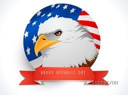 Creative sticky design with illustration of American national bird Eagle and flag for Independence Day celebration.
