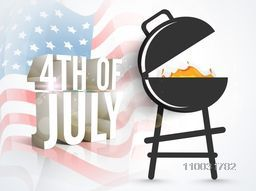 3D text 4th of July with bbq grill on glossy waving national flag background for American Independence Day celebration.