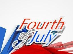 American national flag color text Fourth of July on abstract grey background, can be used as poster, banner or flyer design for Independence Day celebration.