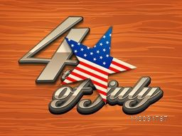 Stylish shiny text 4th of July with national flag color star on wooden background for American Independence Day celebration.