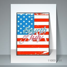 American national flag color template, banner or flyer design with stylish text Fourth of July, for American Independence Day celebration.