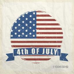 American Flag colors sticker, tag or label design with ribbon on vintage background for 4th of July, Independence Day celebration.