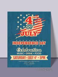 4th of July, American Independence Day party celebration invitation card design with date, time and place details.