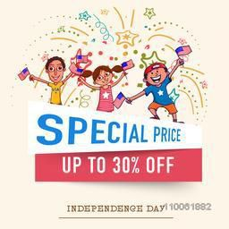 Special price Sale and discount on occasion of American Independence Day celebration with happy kids on stylish background.