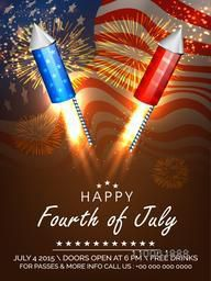 Happy Fourth of July, American Independence Day celebration with national flag colors fireworks on waving flag background.