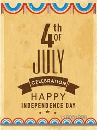 Vintage invitation card with text 4th of July for Happy American Independence Day celebration.