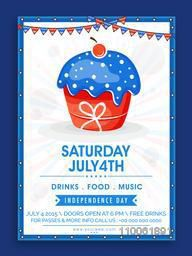 Creative invitation card design decorated with national flag colors cupcake for American Independence Day celebration.