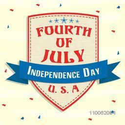 American flag colors badge design for fourth of July, Independence Day celebration.