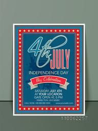 Beautiful invitation card design in blue and red color with date, time and place details for 4th of July, American Independence Day celebration.
