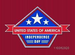 American Independence Day celebration sticker, tag or label with stylish text United States of America on red background.