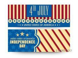 Vintage website header or banner set in national flag colors for 4th July, American Independence Day celebration.