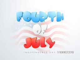 Glossy text Fourth of July on national flag waves background for American Independence Day celebration.