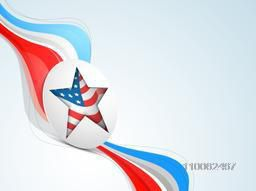 Sticker, tag or label with star on national flag color waves for 4th of July, American Independence Day celebration.