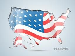 4th of July, American Independence Day celebration with illustration of USA map in flag colors.