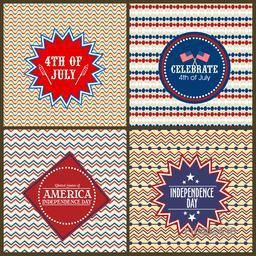 Set of creative sticky design on beautiful floral pattern for 4th of July, American Independence Day celebration.