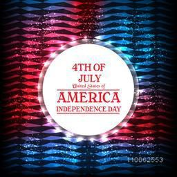 American Independence Day celebration with glossy sticky design on shiny national flag colors background.