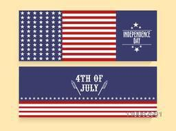 American Flag colors website header or banner set for 4th of July, independence day celebration.