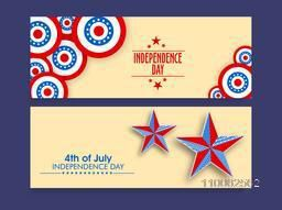 Beautiful website header or banner set decorated with national flag colors stars for 4th of July, American Independence Day celebration.