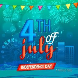 American Independence Day celebration with stylish text 4th of July on shiny firecrackers decorated city view background.