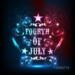 Shiny text Fourth of July decorated with beautiful floral design for American Independence Day celebration.
