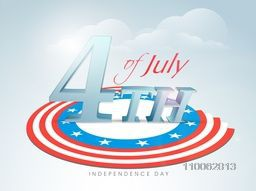 Stylish 3D text 4th of July with creative flag color design on cloudy background for American Independence Day celebration.