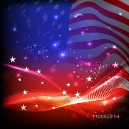 4th of July, American Independence Day celebration with shiny colorful waves and stars on national flag background.