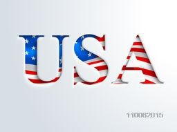 Creative American Flag colors text USA on grey background for 4th of July, American Independence Day celebration.