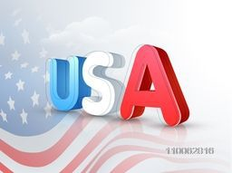 3D text USA on waving national flag background for 4th of July, American Independence Day celebration.