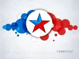 4th of July, American Independence Day celebration sticker, tag or label design with star on national flag color abstract background.
