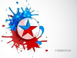 Sticker, tag or label design with star on national flag color splash for 4th of July, American Independence Day celebration.