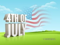 Creative 3D text 4th of July on waving national flag, nature background for American Independence Day celebration.