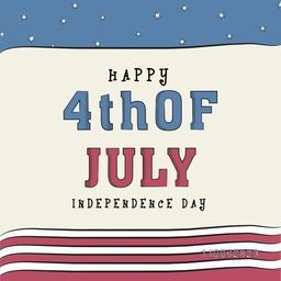 4th of July, American Independence Day celebration greeting card design in national flag color.