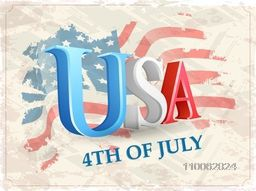 Glossy 3D text USA on national flag colors vintage background for 4th of July, American Independence Day celebration.