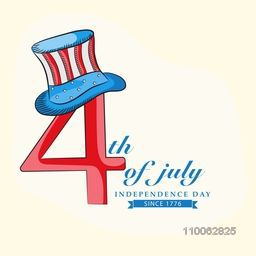 Stylish text 4th of July with hat in national flag color on beige background for American Independence Day celebration.