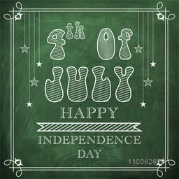 Stylish text 4th of July on green background, Elegant greeting card design for American Independence Day celebration.