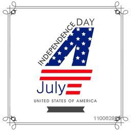 Greeting card design with text 4th of July in national flag color for American Independence Day celebration.