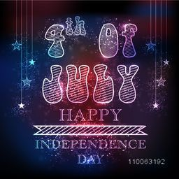 Shiny text 4th of July with stars hanging on colorful background for American Independence Day celebration.