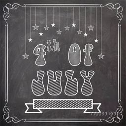 Stylish text 4th of July created by white chalk on blackboard background for American Independence Day celebration.