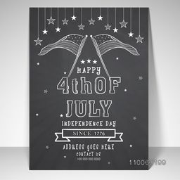 Elegant template, banner or flyer design with stylish text 4th of July, American Independence Day celebration.