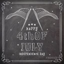 Stylish text 4th of July and national flag created by white chalk on blackboard background for American Independence Day celebration.